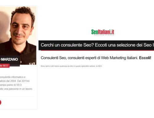 Sono stato inserito nel sito SeoItaliani.it